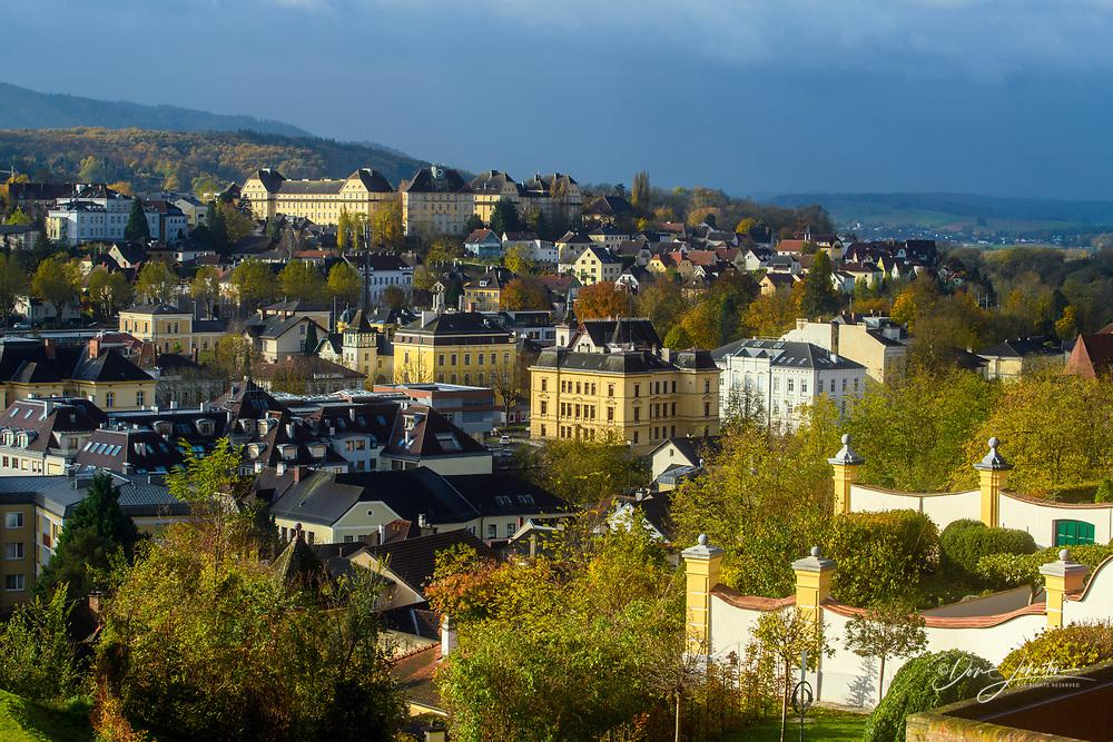 The town of Melk from the Melk Abbey, Melk, Lower Austria, Austria