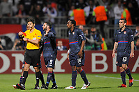 FOOTBALL - UEFA CHAMPIONS LEAGUE 2009/2010 - 1/2 FINAL - 2ND LEG - OLYMPIQUE LYONNAIS v BAYERN MUNCHEN - 27/04/2010 - PHOTO GUY JEFFROY / DPPI - RED CARD CRIS (LYON) / MASSIMO BUSACCA (REFEREE)