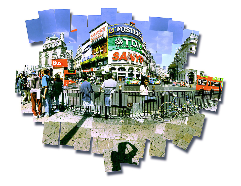 Color photo collage of Picadilly Circus in London, England.