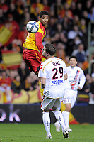 FOOTBALL - FRENCH CHAMPIONSHIP 2010/2011 - L1 - RC LENS v OGC NICE - 23/10/2010 - PHOTO JEAN MARIE HERVIO / DPPI - ISSAM JEMAA (RCL) / FRANCOIS CLERC (OGCN)