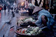 Vietnamese woman selling vegetables in a street of Hanoi by a rainy day. Vietnam, Asia