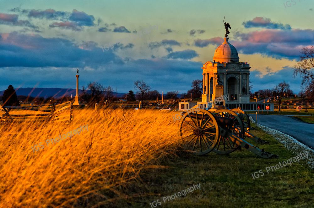 Gettysburg Battlefield Pennsylvania Memorial at SUnset