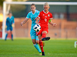 NEWPORT, WALES - Tuesday, June 12, 2018: Russia's Nadezhda Smirnova (left) and Wales' captain Sophie Ingle during the FIFA Women's World Cup 2019 Qualifying Round Group 1 match between Wales and Russia at Newport Stadium. (Pic by David Rawcliffe/Propaganda)