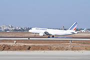 Israel, Ben-Gurion international Airport Airfrance Airbus A320 passenger jet landing