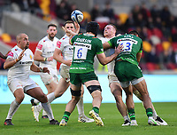 Rugby Union - 2020 / 2021 Gallagher Premiership - Round 19 - London Irish vs Exeter Chiefs - Brentford Community Stadium<br /> <br /> Exeter Chiefs' Sam Simmonds is tackled by London Irish's Curtis Rona.<br /> <br /> COLORSPORT