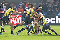USA's, Tai Tuisamoa (R), during their rugby test match between Romania and USA, on National Stadium Arc de Triomphe in Bucharest, November 8, 2014. Romania lose the match against USA, final score 17-27.