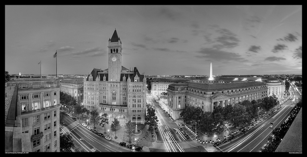 Panoramic photograph of Old Post Office Building at 12th and Pennsylvania Avenue in Washington, DC.  Features Washington Monument.  Print Size (in inches): 15x8; 24x12; 36x18; 48x24.5; 60x30; 72x36.