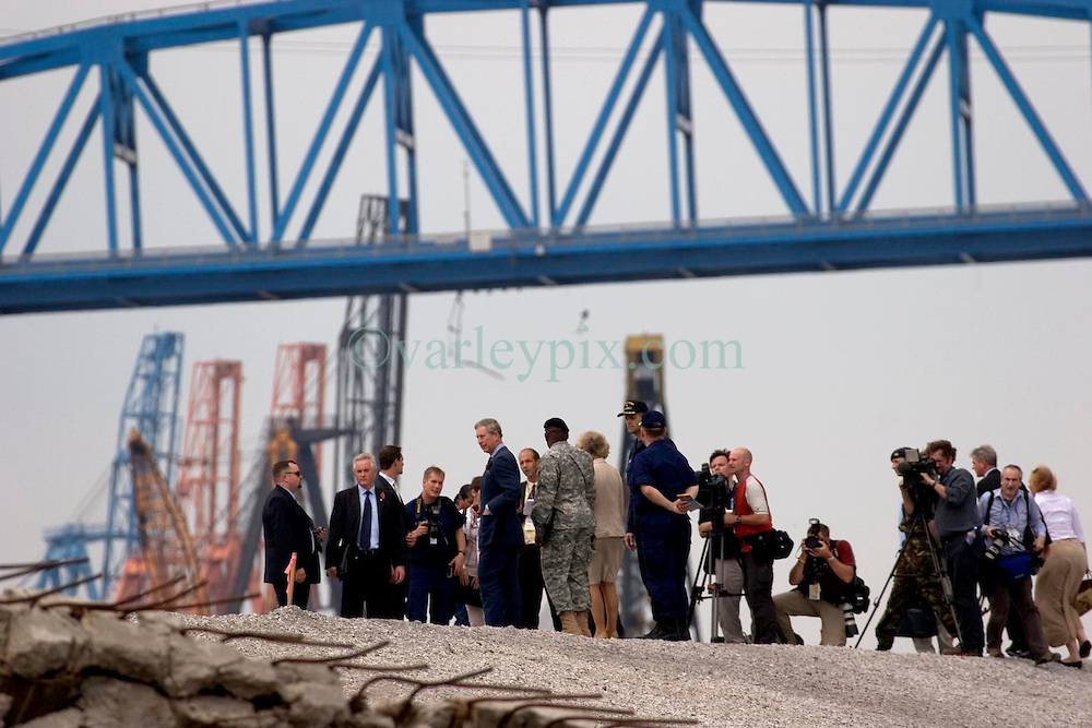 04 November, 2005. New Orleans, Louisiana.<br /> Prince Charles and Camilla, Duchess of Corwall visit the lower 9th ward following the devastating flooding from hurricane Katrina. <br /> Photo; Charlie Varley/varleypix.com