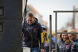 Silvia Valsecchi takes to the stage at the Women's Ronde van Vlaanderen 2017 Team Presentation.