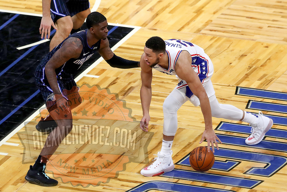 ORLANDO, FL - DECEMBER 31:  Ben Simmons #25 of the Philadelphia 76ers plays against the Orlando Magic at Amway Center on December 31, 2020 in Orlando, Florida. NOTE TO USER: User expressly acknowledges and agrees that, by downloading and or using this photograph, User is consenting to the terms and conditions of the Getty Images License Agreement. (Photo by Alex Menendez/Getty Images)*** Local Caption *** Ben Simmons