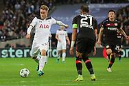 Tottenham Hostpur midfielder Christian Eriksen (23) with a shot on goal during the Champions League match between Tottenham Hotspur and Bayer Leverkusen at Wembley Stadium, London, England on 2 November 2016. Photo by Matthew Redman.