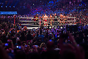 """""""Stone Cold"""" Steve Austin, Shawn Michaels and Mick Foley take the ring with The League of Nations (Sheamus, Alberto Del Rio and Rusev w/ King Barrett) during WrestleMania on April 3, 2016 in Arlington, Texas."""