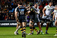 Saracens lock Maro Itoje (4) and Wasps Lock James Gaskell (4) have a disagreement during the Aviva Premiership match between Wasps and Saracens at the Ricoh Arena, Coventry, England on 7 January 2018. Photo by Simon Davies.