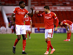 Sammy Ameobi and Nicholas Ioannou of Nottingham Forest bump fists - Mandatory by-line: Ryan Crockett/JMP - 20/10/2020 - FOOTBALL - The City Ground - Nottingham, England - Nottingham Forest v Rotherham United - Sky Bet Championship