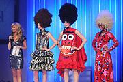 Finale Benelux Next Top Model vanuit de lichtfabriek in Haarlem.<br /> <br />  Op de foto:  Denise , Maxime en Rosalinde in een jurk van Bas Kosters