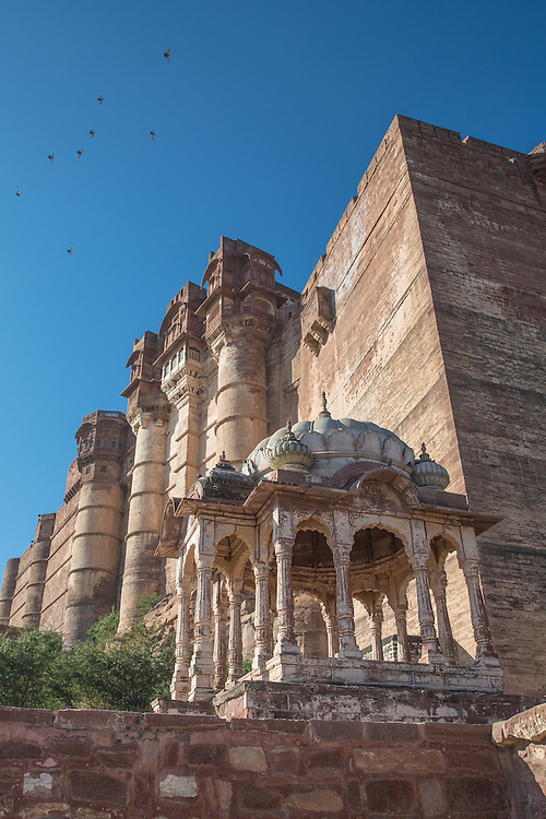 Mehrangarh Fort, sits high above the blue city of Jodhpur, in the desert state of Rajasthan.