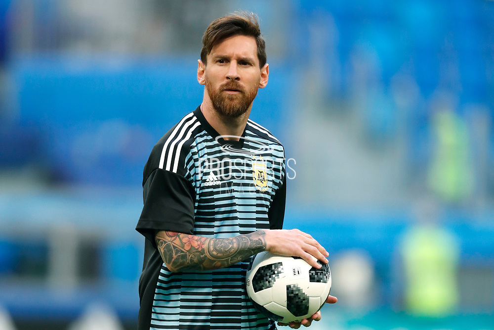 Lionel Messi of Argentina warms up before the 2018 FIFA World Cup Russia, Group D football match between Nigeria and Argentina on June 26, 2018 at Saint Petersburg Stadium in Saint Petersburg, Russia - Photo Stanley Gontha / Pro Shots / ProSportsImages / DPPI