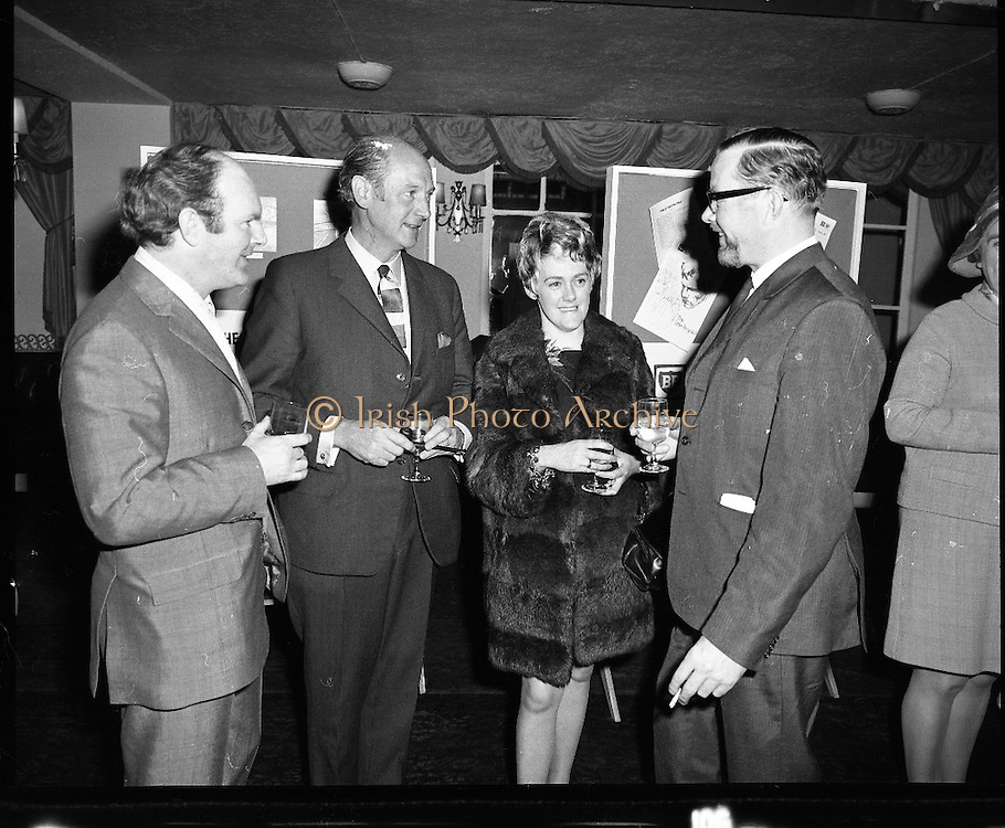 """Premiere of """"The Little People"""".A film by Irish Shell & BP Irl,Ltd..1971.26.04.1971..04.26.1971..26th April 1971..At the Savoy Cinema, O'Connell St, Dublin Irish Shell and BP Irl Ltd premiered the showing of their new film """"The Little People"""". Guest of honour at the showing was the Taoiseach, Mr Jack Lynch. He was accompanied by other members of the government. After the film they repaired to The Gresham Hotel, O'Connell St, for refreshments...An Taoiseach, Mr Jack Lynch, is pictured having a quiet drink at the after film reception in The Gresham Hotel. Mr Bernard A Nolan,Managing Director,Irish Shell and BP Ltd. is also in the picture."""