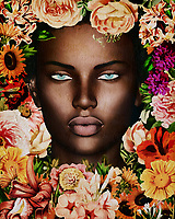 Bringing together a beautiful woman, the presence of many gorgeous flowers, and a touch of glamour, this fine art piece from Jan Keteleer is a visual wonder. It is a journey to simply look into the eyes of the woman shown here. Her eyes reveal only a suggestion of what she might be really thinking. This is combined brilliantly with the presence of beautiful flowers. Rather than one distracting from the other, they operate in perfect harmony with one another. They enhance one another in a way that can only be described as singular. This beautiful piece can be installed in both personal and professional places.<br />