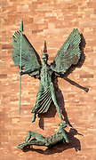 St Michael's Victory over the Devil 1958 bronze sculpture by Jacob Epstein, Coventry Cathedral, England< UK