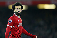 Mohamed Salah of Liverpool looks on. Premier League match, Liverpool v Chelsea at the Anfield stadium in Liverpool, Merseyside on Saturday 25th November 2017.<br /> pic by Chris Stading, Andrew Orchard sports photography.