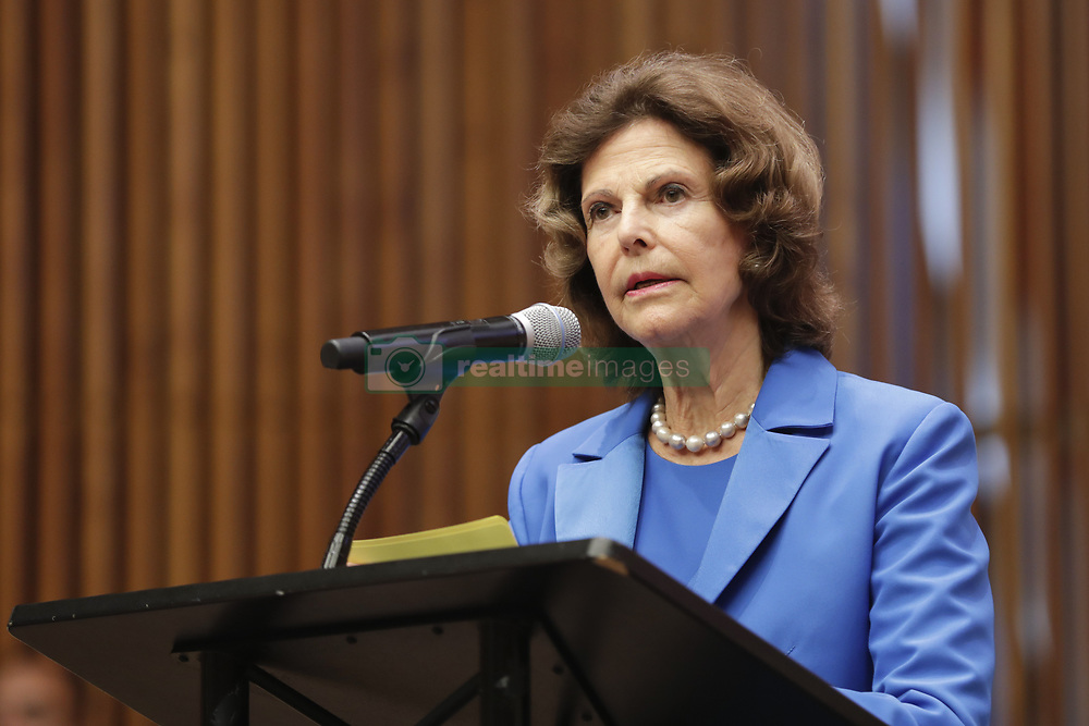 October 3, 2018 - New York, New York, United States - United Nations, New York, USA, October 03, 2018 - Queen Silvia of Sweden Participated on a meeting with the Global Partnership to End Violence Against Children and Together for Girls today at the UN Headquarters in New York..Photo: Luiz Rampelotto/EuropaNewswire  (Credit Image: © Luiz Rampelotto/NurPhoto/ZUMA Press)