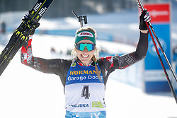 Hauser Lisa Theresa of Austria celebrates during the IBU World Championships Biathlon 12,5 km Mass start Women competition on February 21, 2021 in Pokljuka, Slovenia. Photo by Vid Ponikvar / Sportida