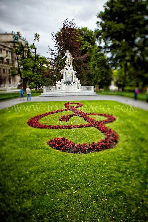 View of the Wolfgang Amadeus Mozart Memorial, Burggarten, Vienna, Austria.