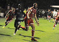Football - 2019 / 2020 EFL Carabao (League) Cup - Crawley Town vs. Stoke City<br /> <br /> Ollie Palmer of Crawley celebrates scoring the winning penalty in the shoot out, at The Peoples Pension Stadium (Broadfield).<br /> <br /> COLORSPORT/ANDREW COWIE