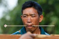 Lisu people crossbowmen in competition, Tongbiguan nature reserve, Dehong prefecture, Yunnan province, China