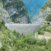LONGARONE, ITALY - SEPTEMBER 26:  The Vajont dam is seen on  September 26, 2013 in Longarone, Italy. The Vajont  tragedy happened on the night of the 9th October 1963, when a landslide broke away from Mount Toc and fell into the Vajont river causing a wave that struck the neighboring towns, the devastation was total, more than 2000 people died and only few lucky villagers survived.  (Photo by Marco Secchi/Getty Images)