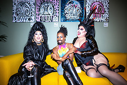 © Licensed to London News Pictures . 27/08/2021. Manchester, UK. CHERRY VALENTINE , J-SKY & WHIPLASH are seen at a launch event for Manchester's annual Gay Pride festival . The event was cancelled in 2020 due to Coronavirus . Manchester Pride charity has been criticised after it withdrew funding for the LGBT Foundation's condom distribution scheme and withdrew support for HIV charity George House Trust over GHT's support for HIV positive people of all sexualities . Manchester Pride chief executive Mark Fletcher has received a £20,000 pay rise over the last two years and now earns between £90,000 and £100,000 . Photo credit: Joel Goodman/LNP