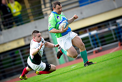 Tit Hocevar of Slovenia rugby match between National team of Slovenia (green) and Bulgaria (white) at EUROPEAN NATIONS CUP 2012-2014 of C group 2nd division, on April 12, 2014, at ZAK Stadium, Ljubljana, Slovenia. (Photo by Matic Klansek Velej / Sportida.com)