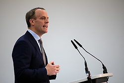 © Licensed to London News Pictures. 14/01/2019. London, UK. Former Secretary of State for Exiting the European Dominic Raab makes a speech on the UK after Brexit, to the Centre for Policy Studies at Church House, Westminster. Tomorrow, MPs are due to vote on British Prime Minister Theresa May's EU withdrawal deal, after the previous vote in December was postponed. Photo credit : Tom Nicholson/LNP