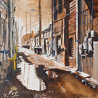 030713       Brian Leddy<br /> A Gallup alleyway is the subject of a watercolor painting by Michael Schmaltz.