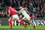 Twickenham, England, 7th March 2020, Manu TUILAGI,  tracked by Hadleigh PARKES, during the, Guinness Six Nations, International Rugby, England vs Wales, RFU Stadium, United Kingdom, [Mandatory Credit; Peter SPURRIER/Intersport Images]
