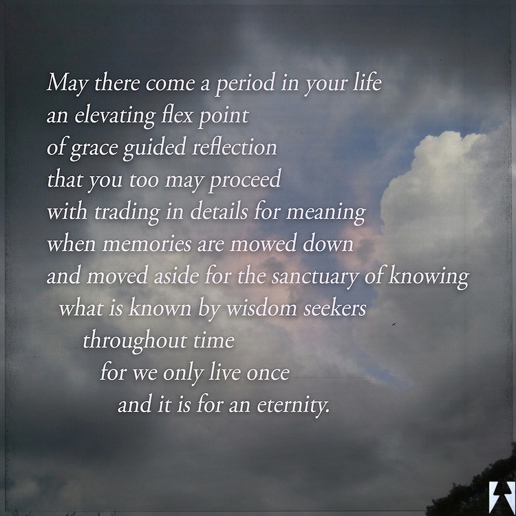 A poetic prayer written over evening storm clouds.