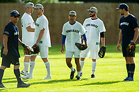 KELOWNA, CANADA - JUNE 28: Kelowna Mayor Colin Basran warms up in the field with celebrity players during the opening charity game of the Home Base Slo-Pitch Tournament fundraiser for the Kelowna General Hospital Foundation JoeAnna's House on June 28, 2019 at Elk's Stadium in Kelowna, British Columbia, Canada.  (Photo by Marissa Baecker/Shoot the Breeze)