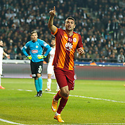 Galatasaray's Burak Yilmaz celebrate his goal during their Turkish Super League soccer derby match Torku Konyaspor between Galatasaray at the Konya Buyuksehir Belediyesi Torku Arena at Selcuklu in Konya Turkey on Saturday, 13 December 2014. Photo by Kurtulus YILMAZ/TURKPIX