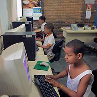 South America, Brazil. Rio de Janiero. Computer class at Para Ti school in Favela of Vila Canoas.