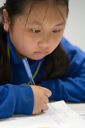 Portrait of Secondary School girl writing,
