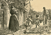 Children running to greet their father coming home from work. Engravig, 1893.