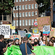 Hundreds of youngsters protest for the Global Climate Change, Parliament square, London, UK on 23rd September 2021.