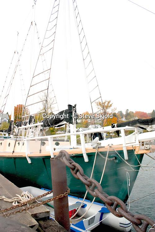 Sailboat parked in marina slip.  Bayfield Wisconsin USA
