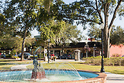 The fountain in Central Park in historic downtown Winter Park, Florida.