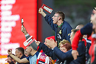 Doncaster Rovers fans during the EFL Sky Bet League 1 second leg Play-Off match between Charlton Athletic and Doncaster Rovers at The Valley, London, England on 17 May 2019.