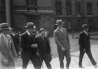 H936 Boxer Gene Tunney Training in Dublin. Walking with group around Trinity College, Dublin. August 1928. (Part of the Independent Newspapers Ireland/NLI Collection)