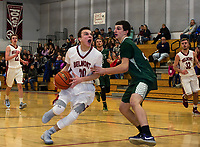 Belmont's Matt Pluskis charges down court during NHIAA Division III Basketball against Monadnock on Friday evening.   (Karen Bobotas/for the Laconia Daily Sun)
