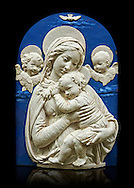 """Enamelled terracotta relief panel of the Virgin and Child with two cherubs a copy of the """"Madonna de l'Impuuneta"""" by Luca della Robbia, Florence 1399-1482).  Inv Campana 32,  The Louvre Museum, Paris."""