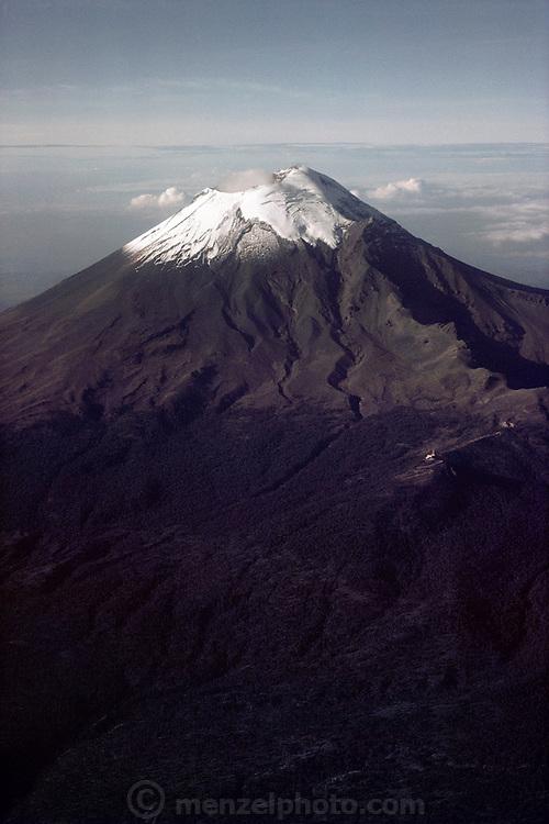 Snowcapped Popocatepetl Volcano  near Puebla, Mexico.